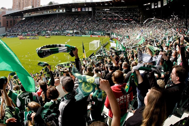 PORTLAND, OR - APRIL 17: fans cheer as the teams take to the pitch at JELD-WEN Field in Portland, OR on April 17, 2011. (Tibby McDowell/Portland Timbers)